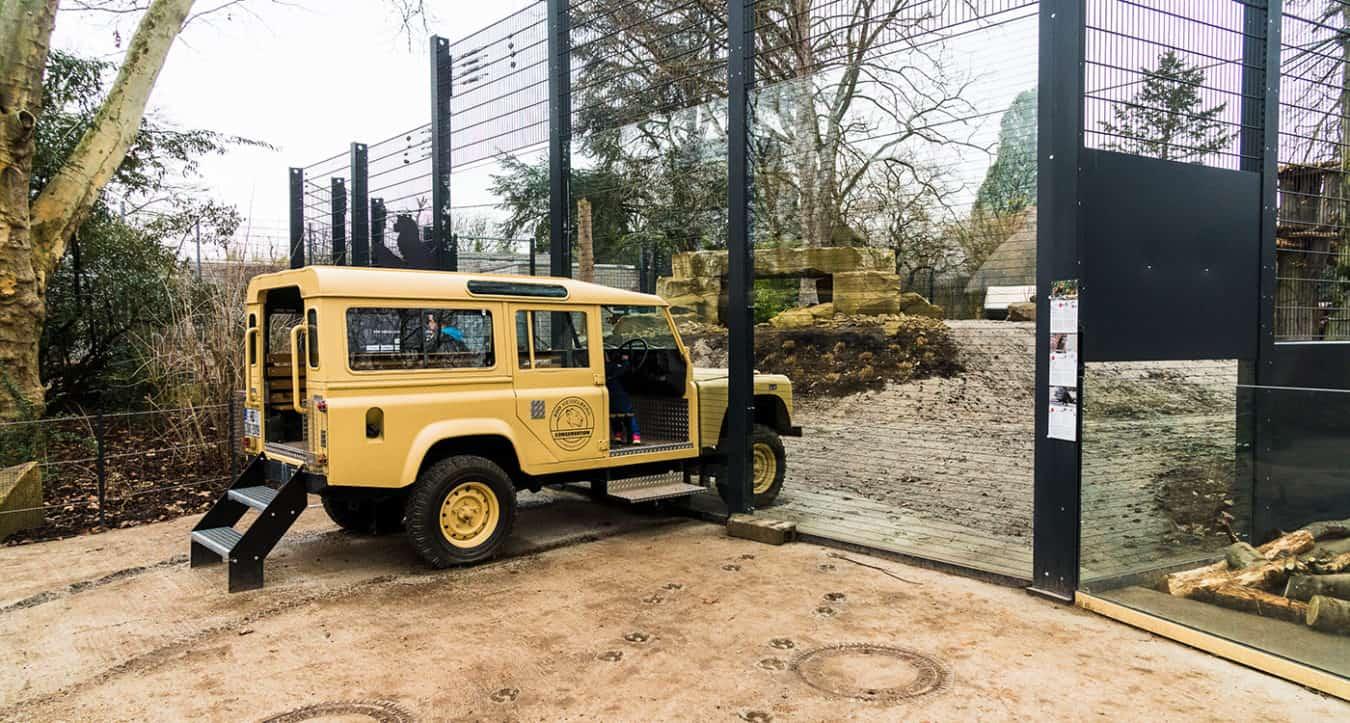 Safari-Fahrzeug an der neuen Löwenanlage (Foto: Peter Bastian/Zoo Heidelberg)