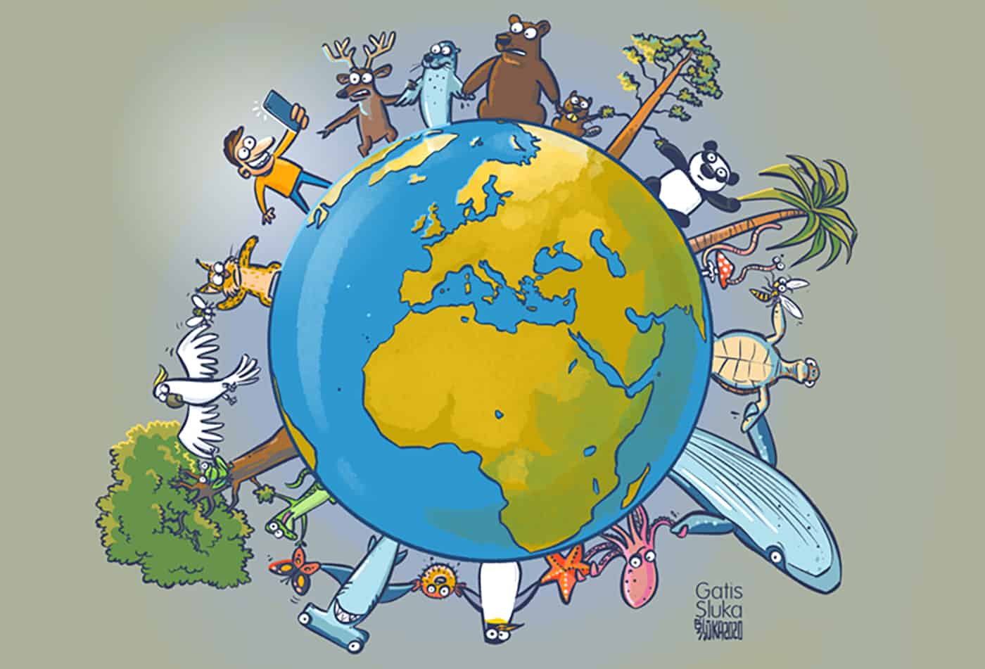 Symbolbild der Globalen Koalition für Artenvielfalt – Wir sind alle ein Teil des Ganzen. (Grafik: Gatis Šļūka)